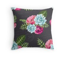 Romantic Floral in pinks and blues Throw Pillow