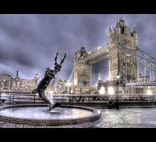 Tower Bridge in London w/ Fountain (Bordered) by Chad Kruger