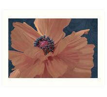 Color Theory, complimentary colors, poppy damask floral Art Print