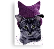 Purple Cat With a Hat Canvas Print