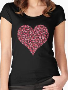 Watercolor Rose Heart Women's Fitted Scoop T-Shirt