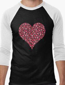 Red Rose Heart Hoodie Men's Baseball ¾ T-Shirt