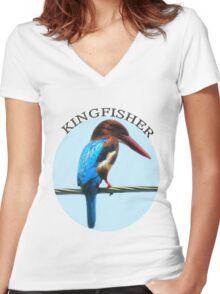 <º))))><KINGFISHER TEE SHIRT-PILLOWS-TOTE BAG-BOOK ECT<º))))><      Women's Fitted V-Neck T-Shirt