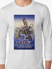 Italia Italy Vintage Travel Poster Restored Long Sleeve T-Shirt