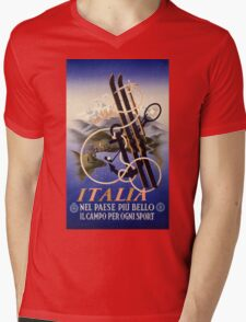 Italia Italy Vintage Travel Poster Restored Mens V-Neck T-Shirt