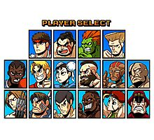 Street Fighter Player Select Photographic Print
