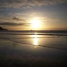 Sunset on Perranporth Beach by gillbee