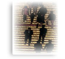 Pastel Folks on Stairs Canvas Print