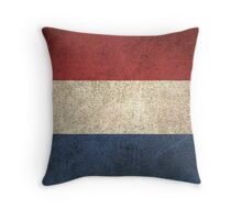 Old and Worn Distressed Vintage Flag of The Netherlands Throw Pillow