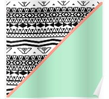 Black White Aztec Pattern Mint Green Color Block Poster