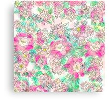 Handdrawn girly pink turquoise floral watercolor Canvas Print