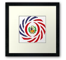 Peruvian American Multinational Patriot Flag Series Framed Print