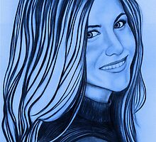 Jennifer Aniston celebrity portrait by Margaret Sanderson