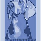 Classic Weimaraner poster-style in blue by nimbus88