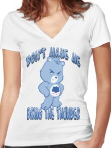 Grumpy Care Bear - Bring the Thunder Women's Fitted V-Neck T-Shirt