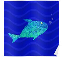 Fish, Water and Bubbles Poster