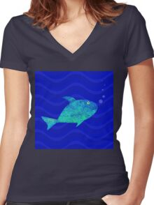 Fish, Water and Bubbles Women's Fitted V-Neck T-Shirt