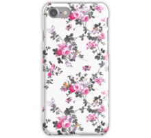 Girly chic pink gray orange floral pattern iPhone Case/Skin