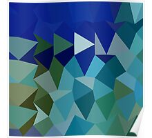 Blue Pigment Abstract Low Polygon Background Poster