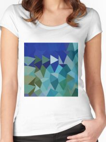 Blue Pigment Abstract Low Polygon Background Women's Fitted Scoop T-Shirt