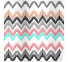 Girly trendy turqouise coral gray ikat pattern Poster
