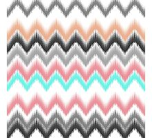 Girly trendy turqouise coral gray ikat pattern Photographic Print