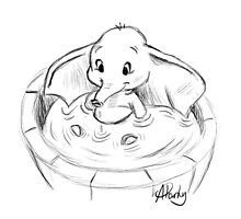 Dumbo in the Tub Sketch by APParky