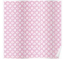 Girly pink white vintage stripes floral pattern Poster