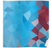 Cerulean Frost Blue Abstract Low Polygon Background Poster