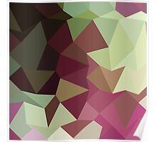 Claret Red Abstract Low Polygon Background Poster
