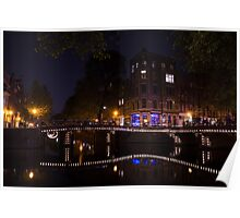 Magical, Sparkling Amsterdam Canals and Bridges at Night Poster