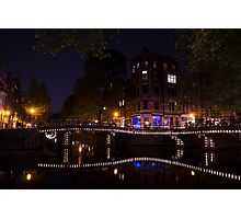 Magical, Sparkling Amsterdam Canals and Bridges at Night Photographic Print