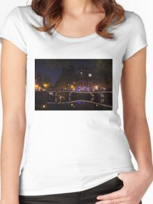 Magical, Sparkling Amsterdam Canals and Bridges at Night Women's Fitted Scoop T-Shirt