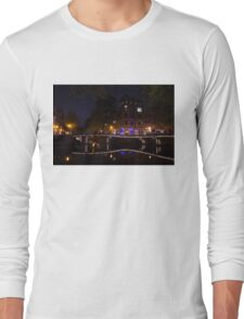 Magical, Sparkling Amsterdam Canals and Bridges at Night Long Sleeve T-Shirt