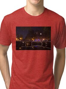 Magical, Sparkling Amsterdam Canals and Bridges at Night Tri-blend T-Shirt