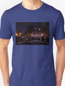 Magical, Sparkling Amsterdam Canals and Bridges at Night Unisex T-Shirt