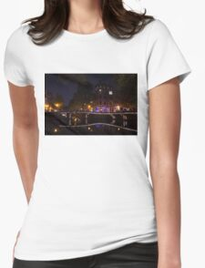 Magical, Sparkling Amsterdam Canals and Bridges at Night Womens Fitted T-Shirt