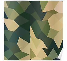 Dark Olive Green Abstract Low Polygon Background Poster