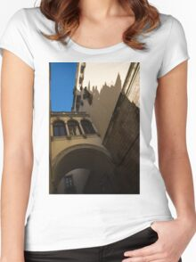 Barcelona's Marvelous Architecture - Shapes and Shadows Women's Fitted Scoop T-Shirt