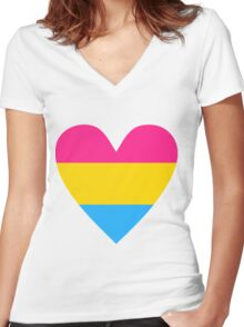 Pansexual heart Women's Fitted V-Neck T-Shirt