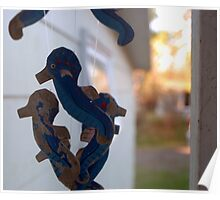 Wooden Seahorses Poster