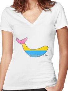 Pansexuwhale - pansexual whale Women's Fitted V-Neck T-Shirt