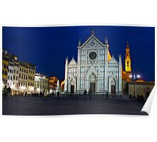 Blue Hour - Santa Croce Church, Florence, Italy Poster