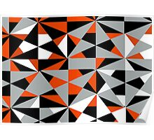 Funky Modern Geometric Abstract Shapes Pattern Poster