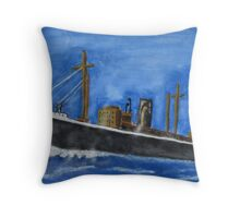 Ship in movement Throw Pillow