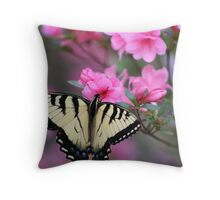 Yellow Butterfly on Pink Azalea Throw Pillow