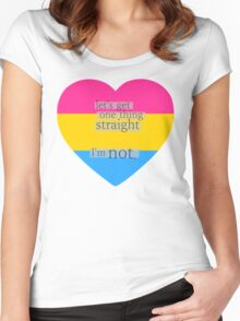 Let's get one thing straight, I'm not - Pansexual heart flag Women's Fitted Scoop T-Shirt