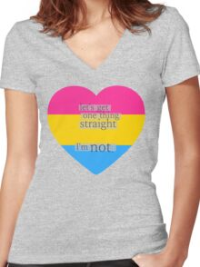 Let's get one thing straight, I'm not - Pansexual heart flag Women's Fitted V-Neck T-Shirt