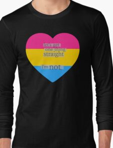 Let's get one thing straight, I'm not - Pansexual heart flag Long Sleeve T-Shirt