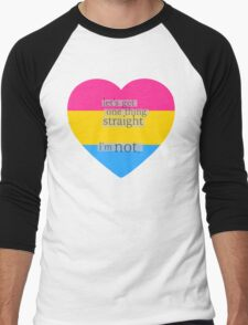 Let's get one thing straight, I'm not - Pansexual heart flag Men's Baseball ¾ T-Shirt